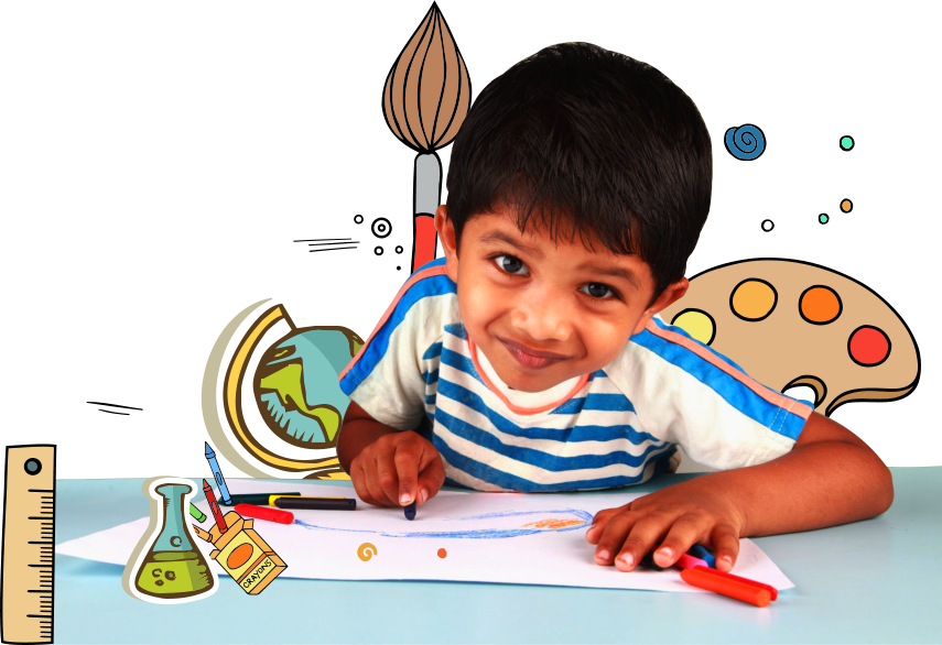 male toddler drawing with cryons smiling