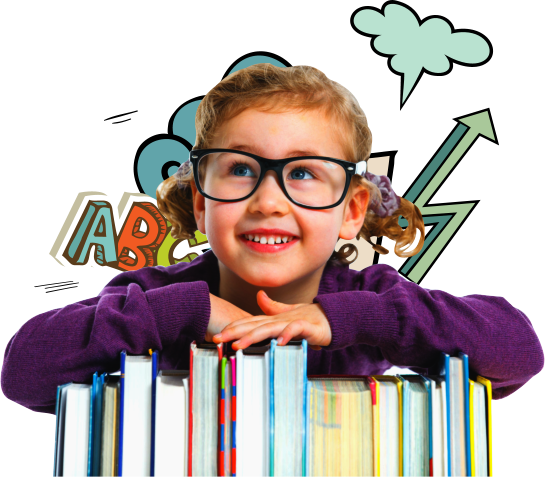 female toddler wearing glasses smiling
